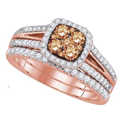 14kt Rose Gold Womens Round Brown Diamond Bridal Wedding Ring Band Set 1 Cttw