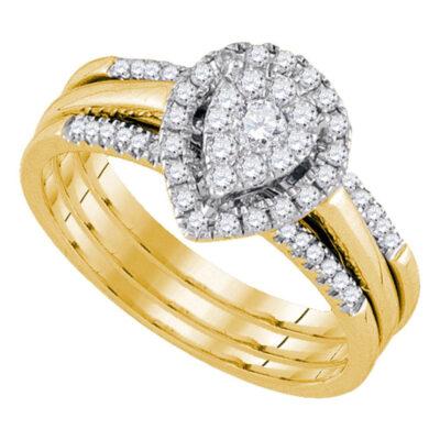 14kt Yellow Gold Diamond Teardrop Cluster Bridal Wedding Ring Band Set 1/2 Cttw