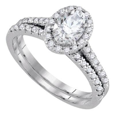 14kt White Gold Oval Diamond Bridal Wedding Ring Band Set 1-1/5 Cttw