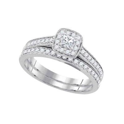 14k White Gold Princess Diamond Wedding Bridal Ring Set 1/2 Cttw