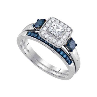 14k White Gold Princess Diamond Bridal Wedding Ring Band Set 3/4 Cttw