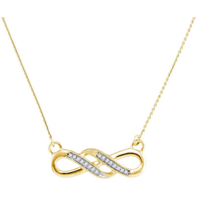 10kt Yellow Gold Womens Round Diamond Infinity Pendant Necklace 1/20 Cttw