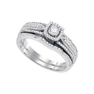 10k White Gold Round Diamond Bridal Wedding Ring Band Set 3/8 Cttw
