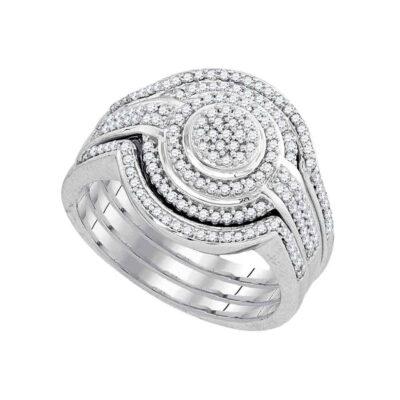 10k White Gold Round Diamond Cluster Bridal Wedding Ring Band Set 1/2 Cttw