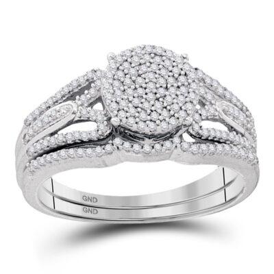 10kt White Gold Round Diamond Bridal Wedding Ring Band Set 3/8 Cttw