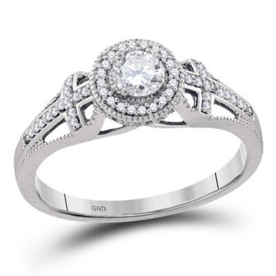 10k White Gold Round Diamond Bridal Wedding Engagement Anniversary Ring 3/8 Cttw