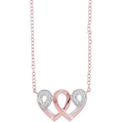 10k Rose Gold Womens Diamond Interwoven Heart Infinity Love Pendant Necklace 1/20 Cttw