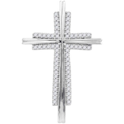10kt White Gold Womens Round Diamond Cross Religious Pendant 1/8 Cttw