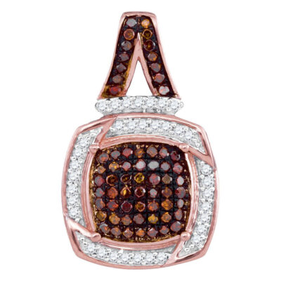 10kt Rose Gold Womens Round Red Color Enhanced Diamond Square Pendant 1/4 Cttw