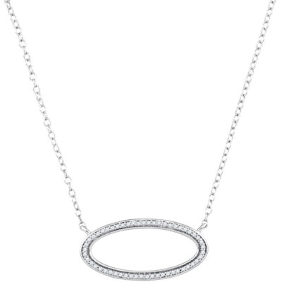 10kt White Gold Womens Round Diamond Oval Outline Pendant Necklace 1/8 Cttw