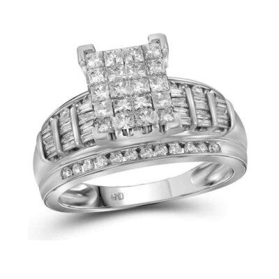 10kt White Gold Princess Diamond Cluster Bridal Wedding Engagement Ring 2 Cttw - Size 5
