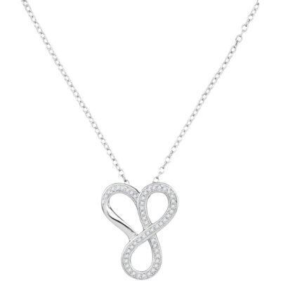 10kt White Gold Womens Round Diamond Infinity Heart Pendant Necklace 1/6 Cttw