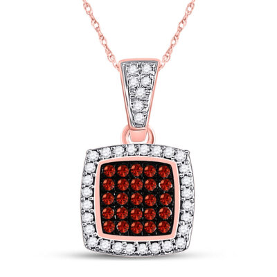 10kt Rose Gold Womens Round Red Color Enhanced Diamond Square Cluster Pendant 1/6 Cttw