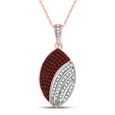 10kt Rose Gold Womens Round Red Color Enhanced Diamond Oval Pendant 1/3 Cttw