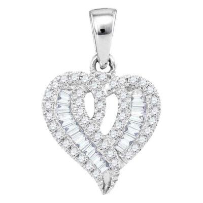 10kt White Gold Womens Round Baguette Diamond Heart Pendant 1/5 Cttw