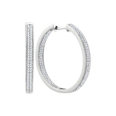 10kt White Gold Womens Round Diamond Hoop Earrings 1 Cttw