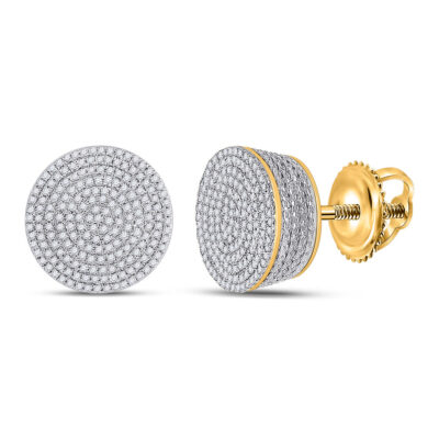 10kt Yellow Gold Mens Round Diamond Concentric Cluster Earrings 3/4 Cttw