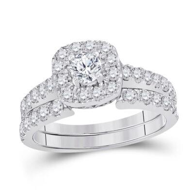 14kt White Gold Round Diamond Bridal Wedding Ring Band Set 1-3/8