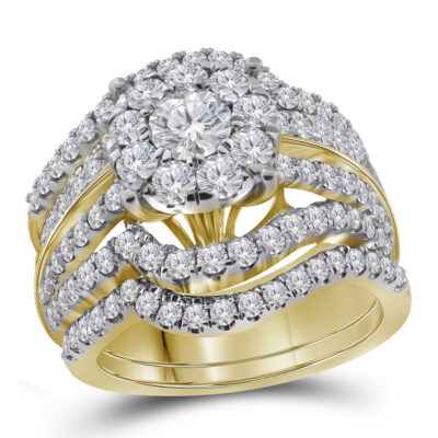 14kt Yellow Gold Round Diamond Bridal Wedding Ring Band Set 2-3/8 Cttw