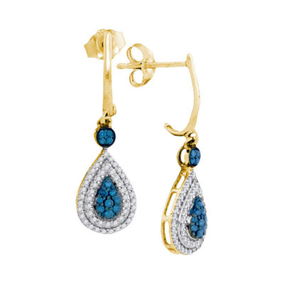 10kt Yellow Gold Womens Round Blue Color Enhanced Diamond Teardrop Dangle Earrings 1/2 Cttw