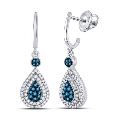 10kt White Gold Womens Round Blue Color Enhanced Diamond Teardrop Dangle Earrings 1/2 Cttw