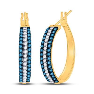 10kt Yellow Gold Womens Round Blue Color Enhanced Diamond Hoop Earrings 1 Cttw