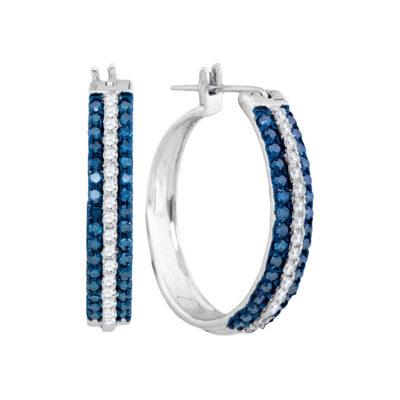 10kt White Gold Womens Round Blue Color Enhanced Diamond Hoop Earrings 1 Cttw