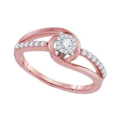 10kt Rose Gold Round Diamond Solitaire Bridal Wedding Engagement Ring 1/3 Cttw