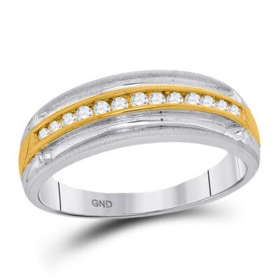 10kt Two-tone White Gold Mens Round Diamond Wedding Anniversary Band Ring 1/4 Cttw