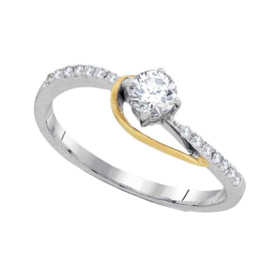 10kt Two-tone Gold Round Diamond Solitaire Bridal Wedding Engagement Ring 1/5 Cttw