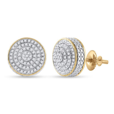 10kt Yellow Gold Mens Round Diamond 3D Disk Circle Earrings 1/3 Cttw