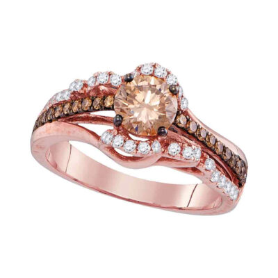 14kt Rose Gold Round Brown Diamond Solitaire Bridal Wedding Engagement Ring 1-1/4 Cttw