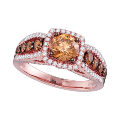 14kt Rose Gold Round Brown Diamond Solitaire Bridal Wedding Engagement Ring 1-7/8 Cttw