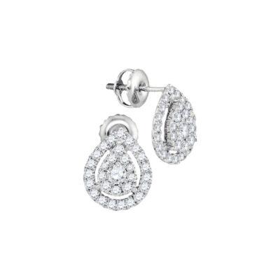 14kt White Gold Womens Round Diamond Teardrop Stud Earrings 3/4 Cttw