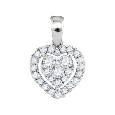 14kt White Gold Womens Round Diamond Heart Pendant 1/3 Cttw