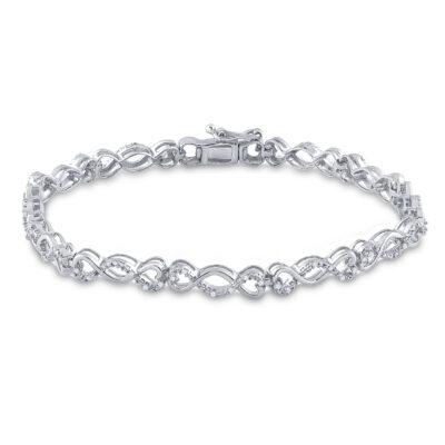 Sterling Silver Womens Round Diamond Heart Twist Link Bracelet 1/4 Cttw