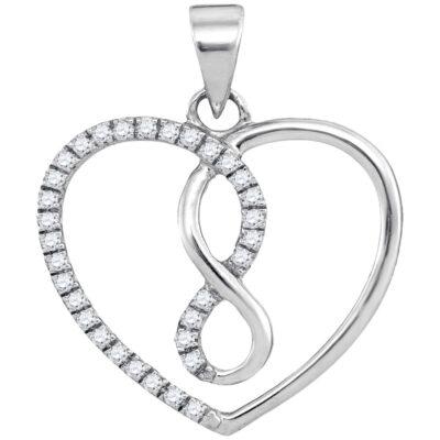 10kt White Gold Womens Round Diamond Infinity Heart Pendant 1/8 Cttw