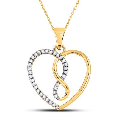 10kt Yellow Gold Womens Round Diamond Infinity Heart Pendant 1/8 Cttw