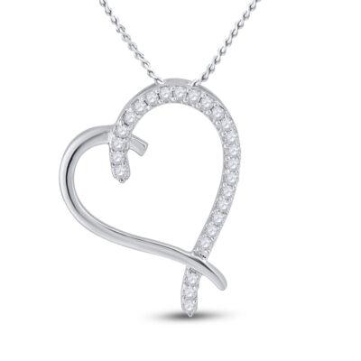 10kt White Gold Womens Round Diamond Heart Pendant 1/6 Cttw
