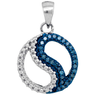 10kt White Gold Womens Round Blue Color Enhanced Diamond Circle Ying Yang Pendant 1/10 Cttw