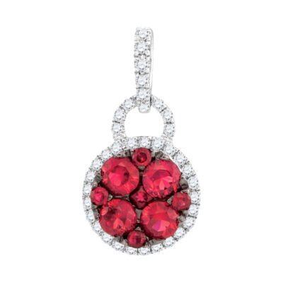 14kt White Gold Womens Round Ruby Cluster Pendant 3/4 Cttw