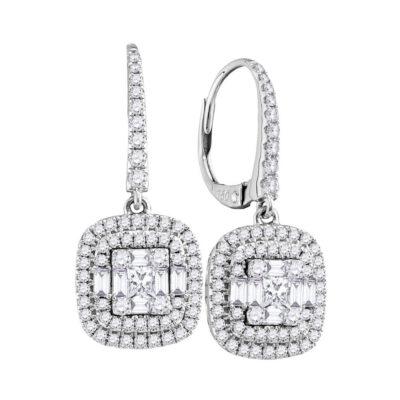 18kt White Gold Womens Baguette Diamond Square Dangle Earrings 1 Cttw