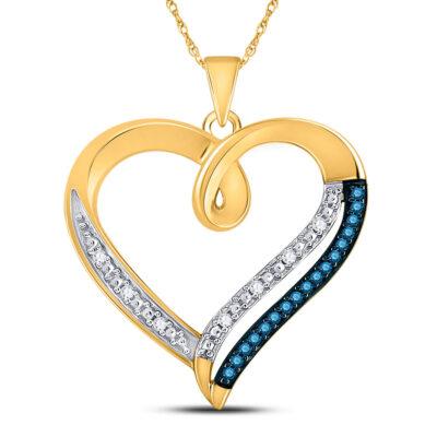 10kt Yellow Gold Womens Round Blue Color Enhanced Diamond Heart Pendant 1/6 Cttw