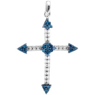 10kt White Gold Womens Round Blue Color Enhanced Diamond Cross Religious Pendant 1/6 Cttw