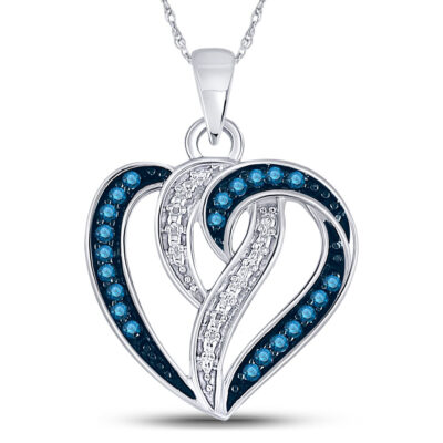 10kt White Gold Womens Round Blue Color Enhanced Diamond Heart Pendant 1/6 Cttw