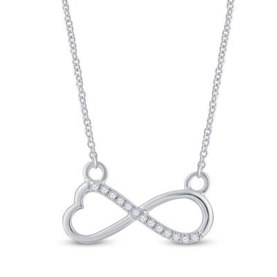 10kt White Gold Womens Round Diamond Infinity Heart Necklace 1/12 Cttw