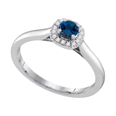 14kt White Gold Womens Round Blue Sapphire Diamond Solitaire Ring 1/3 Cttw