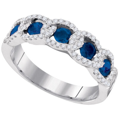 14kt White Gold Womens Round Blue Sapphire Diamond Band Ring 1 Cttw
