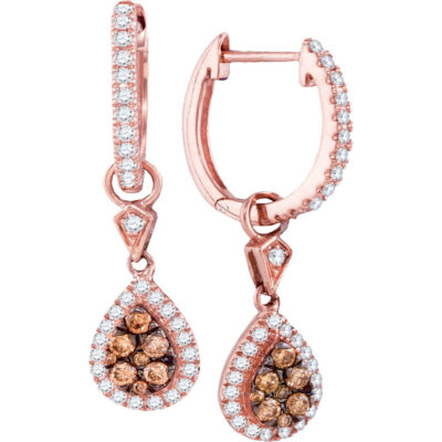 14kt Rose Gold Womens Round Brown Diamond Teardrop Dangle Earrings 1/2 Cttw