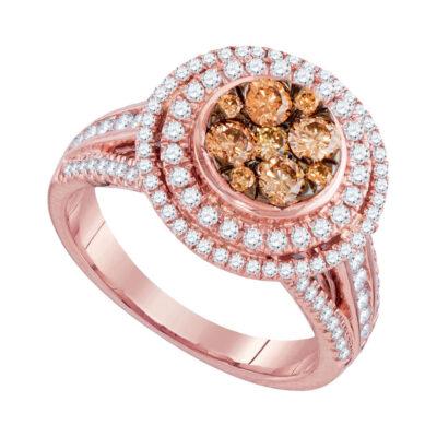 14kt Rose Gold Round Brown Diamond Cluster Bridal Wedding Engagement Ring 1-1/2 Cttw